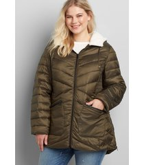 lane bryant women's sherpa-lined hood shirred-side packable puffer jacket 18/20 dried basil