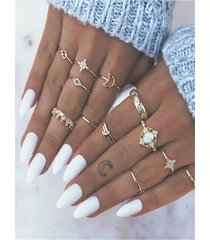 conjunto anillos estrella y luna dorados