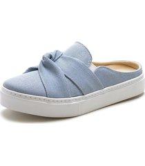 mule sapatãªnis sapatilha sem cadarã§o urbana feminina confort - azul - feminino - tãªxtil - dafiti