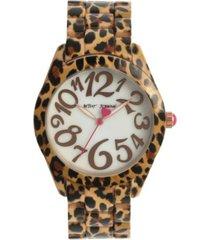 betsey johnson women's cheetah brown stainless steel watch 40mm