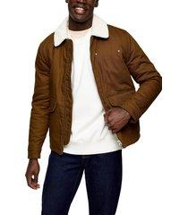 men's topman nebraska faux shearling collar jacket, size large - brown