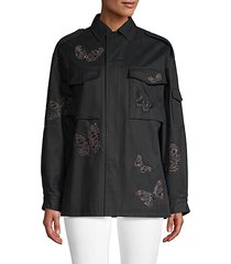 caban butterfly embroidery cargo shirt