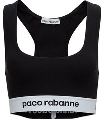 stretch fabric top with logo