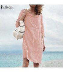 zanzea camisa de manga corta para mujer camisa de vestir botones cuello camiseta sólida vestido talla grande -rosado