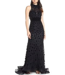 women's mac duggal floral applique mermaid gown, size 6 - black