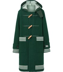 burberry hooded striped duffle coat - green