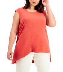 alfani plus size asymmetrical high-low top, created for macy's