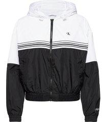stripe tape hooded windbreaker zomerjas dunne jas zwart calvin klein jeans