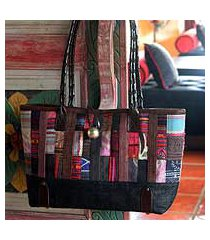 leather and cotton shoulder bag, 'indigo collage' (thailand)