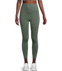 kensie women's ribbed directional high-rise leggings - olive - size m