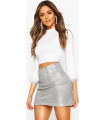 feather trim high neck top, white