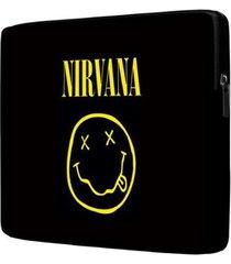 capa para notebook nirvana 15 polegadas com bolso - unissex