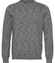 cotton knitted crew neck jumper gebreide trui met ronde kraag grijs lyle & scott