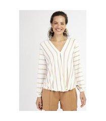 blusa feminina listrada manga bufante decote v off white