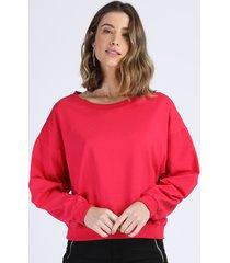 blusão de moletom feminino amplo manga bufante decote redondo pink