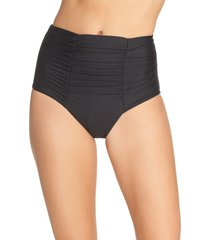 women's becca color code high waist bikini bottoms, size large - black