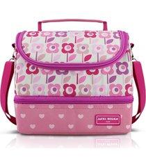 lancheira térmica com 2 compartimentos infantil flor jacki design sapeka rosa