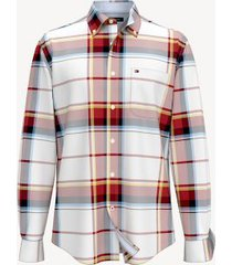 tommy hilfiger men's classic fit essential plaid shirt red/white/yellow - m