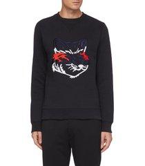 embroidered fox head sweatshirt