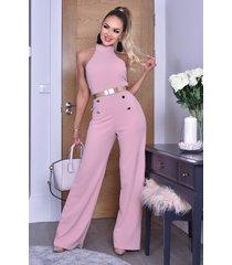 ctw katrina halter button jumpsuit roze