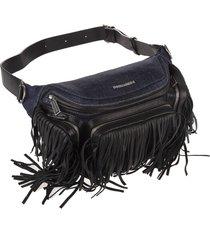 blue and black denim leather fringe man waist bag