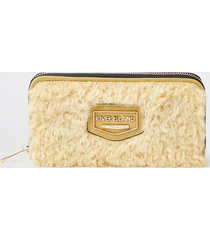 river island womens yellow faux fur zip around purse