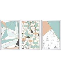 conjunto kit 3 quadro oppen house s 60x120cm escandinavo skadi com vidro e moldura branca      quadro oppen house s decorativos - branco - dafiti