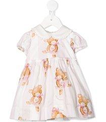 monnalisa colour block teddy bear print dress - pink