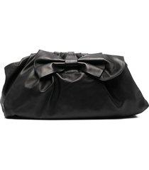 red(v) bow detail clutch bag - black