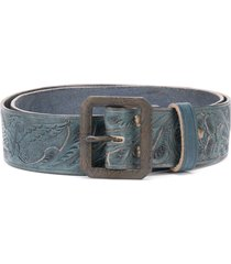 ralph lauren rrl hand-tooled leather belt - blue