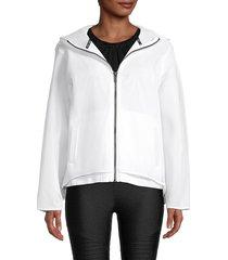 dkny sport women's hooded mesh jacket - white - size s
