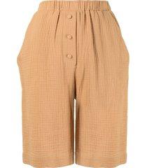 0711 patterned-effect cotton shorts - orange