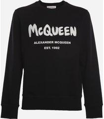 alexander mcqueen stretch cotton sweatshirt with graffiti print