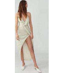 champagne asymmetrical drape dress