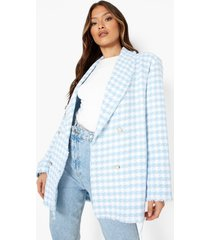 getailleerde bouclé blazer met gerafelde zoom, powder blue