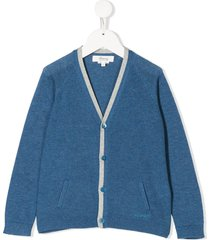 bonpoint piqué-knit cardigan - blue
