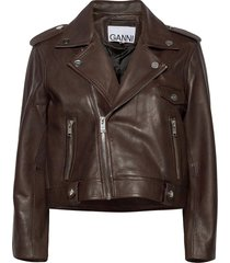 light grain leather leren jack leren jas bruin ganni