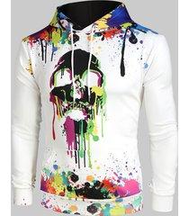 colorful painting splatter skull print kangaroo pocket halloween hoodie