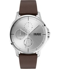 hugo men's #focus brown leather strap watch 42mm
