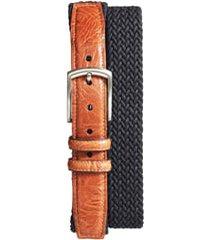 men's big & tall torino braided stretch cotton belt, size 46 - black