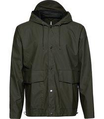short hooded coat regenkleding groen rains