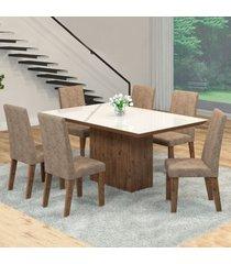 mesa de jantar 6 lugares manu venus dover/malta/branco - viero móveis