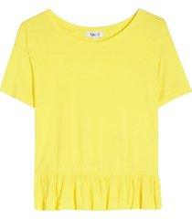 camiseta con arandela en ruedo color amarillo, talla 8
