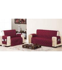 protetor de sofá 2 e 3 lugares vinho com 2 peças tecido poliester - capa para sofá - aquarela