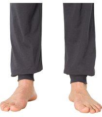 schiesser pyjama v-hals met boord blauw