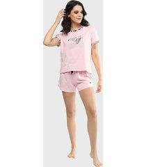 pijama conjunto manga corta pantalón corto rosa soviet