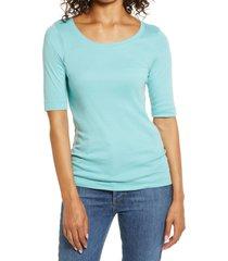 women's caslon ballet neck cotton & modal knit elbow sleeve tee, size medium - blue