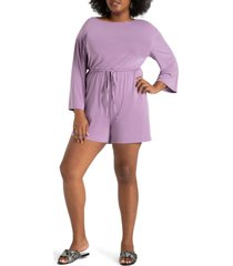 plus size women's eloquii tie waist long sleeve knit romper, size 18w/20w - purple