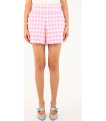 balmain white and pink tartan tweed shorts