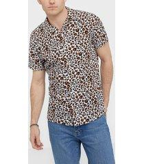 premium by jack & jones jprblaanimal viscose shirt s/s skjortor mörkorange
